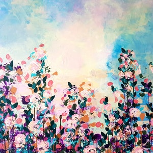 (CreativeWork) Summer Haze by Emily Lauro. arcylic-painting. Shop online at Bluethumb.