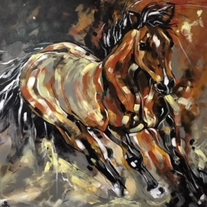 (CreativeWork) Sunset Gallop by Susan Fuss. arcylic-painting. Shop online at Bluethumb.
