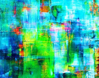 (CreativeWork) Blue Fire by PHIL HODGSON. mixed-media. Shop online at Bluethumb.