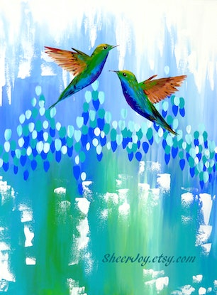 (CreativeWork) Birds of a feather by Cathy Snow. Acrylic Paint. Shop online at Bluethumb.