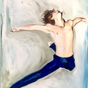 (CreativeWork) LEAP by Sharon England. oil-painting. Shop online at Bluethumb.