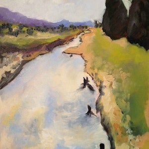 (CreativeWork) Follow The River by Amanda Hunt. oil-painting. Shop online at Bluethumb.