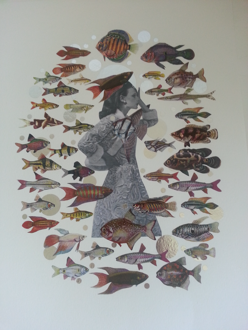 "(CreativeWork) ""Fish out of water - Series 2 #4""    by Karen Coull. mixed-media. Shop online at Bluethumb."