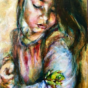 (CreativeWork) Jade and the Frog by Skye Stephenson. oil-painting. Shop online at Bluethumb.