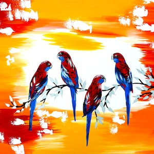 (CreativeWork) Happy parrots by Cathy Jacobs. arcylic-painting. Shop online at Bluethumb.