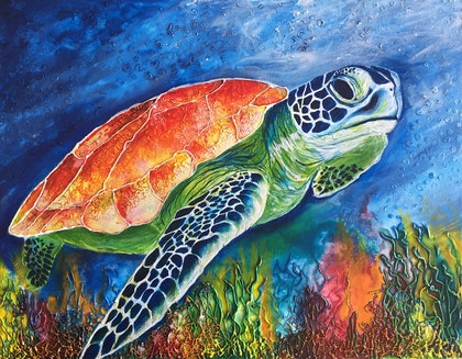 (CreativeWork) Turtle Coral by Jess King. mixed-media. Shop online at Bluethumb.