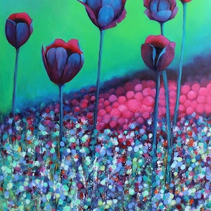 (CreativeWork) Black Tulips - Limited Edition Print Signed and Numbered 3/100 Professional Giclee Print A2 (420mm x 597mm) - Copy - Copy Ed. 3 of 100 by Susan Cunningham Vibrant Expressions. print. Shop online at Bluethumb.
