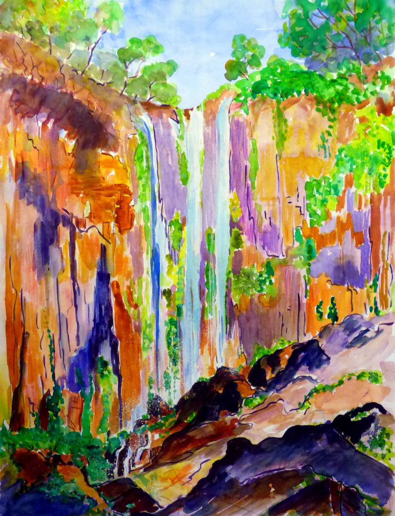 (CreativeWork) Queen Mary Falls Queensland  by Virginia McGowan. Watercolour Paint. Shop online at Bluethumb.