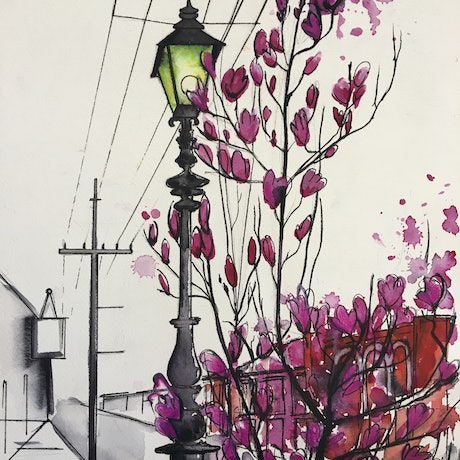 (CreativeWork) Gertrude street in springtime  by Bec Grant. Watercolour Paint. Shop online at Bluethumb.