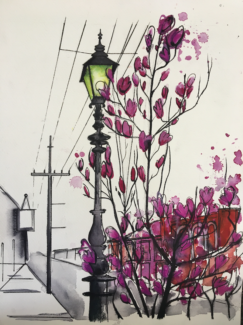 (CreativeWork) Gertrude street in springtime  by Bec Grant. watercolour. Shop online at Bluethumb.