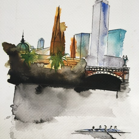 (CreativeWork) Melbourne city in summer by Bec Grant. Watercolour Paint. Shop online at Bluethumb.
