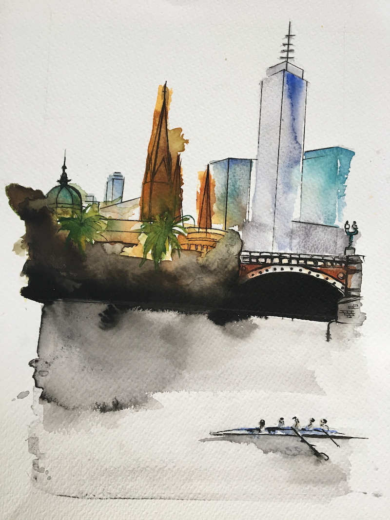 (CreativeWork) Melbourne city in summer by Bec Grant. watercolour. Shop online at Bluethumb.