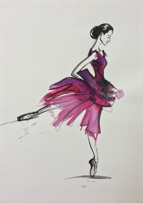 (CreativeWork) Ballerina in pink by Bec Grant. #<Filter:0x00007f083d2e2060>. Shop online at Bluethumb.