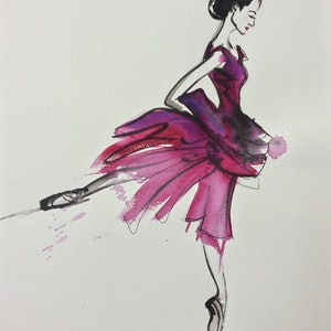 (CreativeWork) Ballerina in pink by Bec Grant. watercolour. Shop online at Bluethumb.