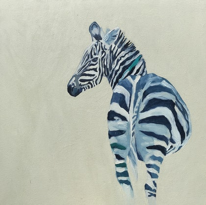(CreativeWork) Zebra #2 by Lydie Paton. oil-painting. Shop online at Bluethumb.