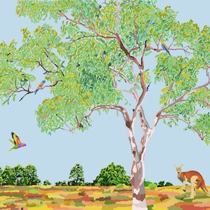 (CreativeWork) Gumtree with kangaroo and two parrots Ed. 1 of 5 by Cloglot Storytelling. print. Shop online at Bluethumb.