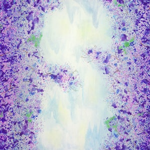 (CreativeWork) Jacaranda View Over the Stream by Andrea Marriette. arcylic-painting. Shop online at Bluethumb.