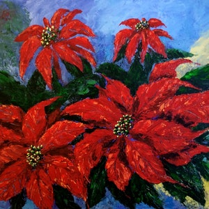 (CreativeWork) Poinsettia by Jing Tian. arcylic-painting. Shop online at Bluethumb.
