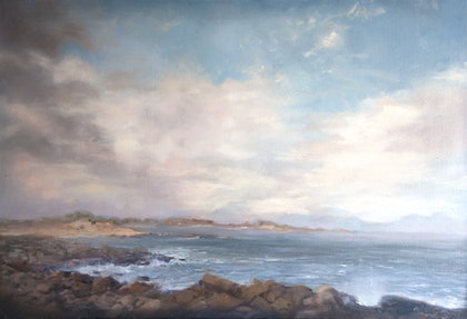 (CreativeWork) Summer Morning at Black Rock, Towards Barwon Heads by Annabelle Mannings. oil-painting. Shop online at Bluethumb.