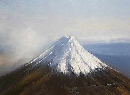 (CreativeWork) Above Fuji San by Terrence Dower. oil-painting. Shop online at Bluethumb.