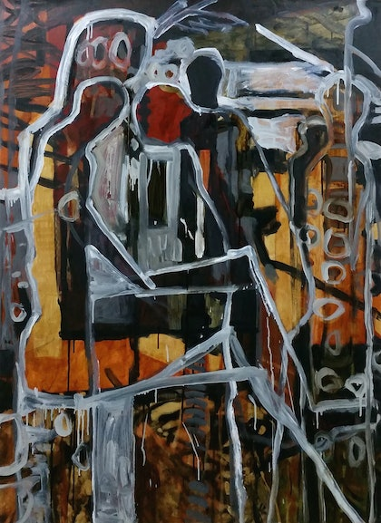 (CreativeWork) six figures 11 by STEVEN PERRIN. oil-painting. Shop online at Bluethumb.