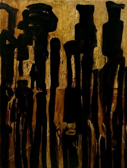 (CreativeWork) totem figures 12 by STEVEN PERRIN. oil-painting. Shop online at Bluethumb.