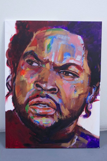 (CreativeWork) Ice Cube  by Jose Marcote. arcylic-painting. Shop online at Bluethumb.