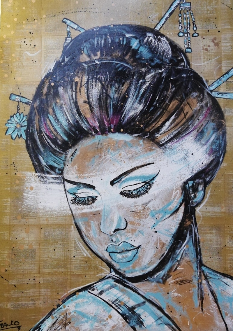 """(CreativeWork) """"Geisha Blu & White"""""""" 140cm x 100cm (on book """"Memoirs of a Geisha"""") pages on Canvas on a high quality deep edge frame.  # no further framing need by _Franko _. mixed-media. Shop online at Bluethumb."""
