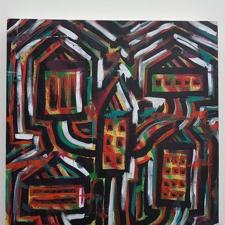 (CreativeWork) Town by Geno Porrello. Acrylic Paint. Shop online at Bluethumb.