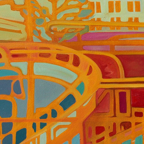 (CreativeWork) Crossing Brisbane - Summer Light by Laing Rahner. Acrylic Paint. Shop online at Bluethumb.