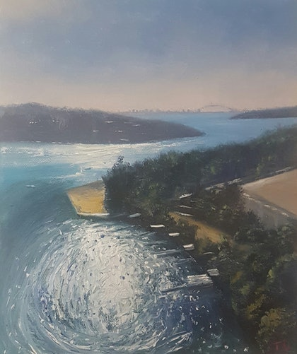 (CreativeWork) Morning Light,Gladesville. by Terrence Dower. oil-painting. Shop online at Bluethumb.
