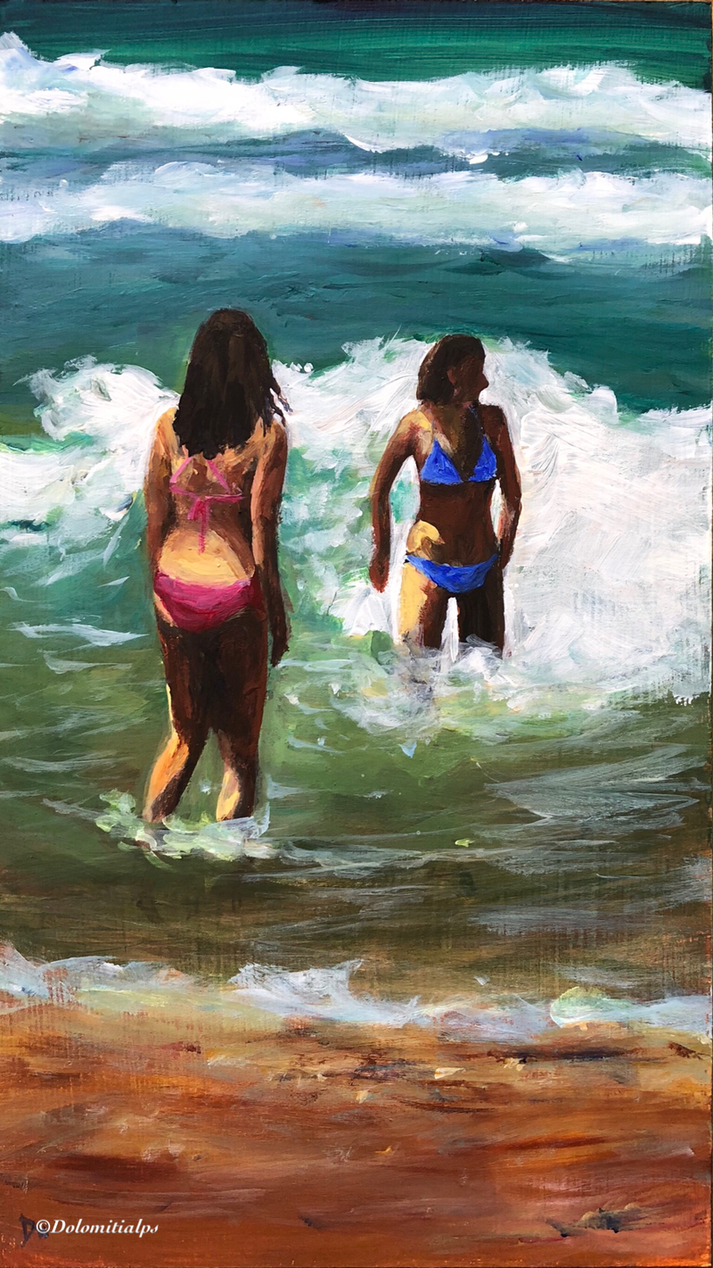 (CreativeWork) Wave fun by Shelly Du. arcylic-painting. Shop online at Bluethumb.