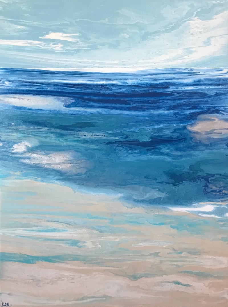 "(CreativeWork) ORIGINAL ABSTRACT ART PAINTING ON STRETCHED CANVAS  ""COASTAL VISTA""  TEAL GREEN TURQUOISE SILVER BLUE WHITE by Debra Ryan. mixed-media. Shop online at Bluethumb."