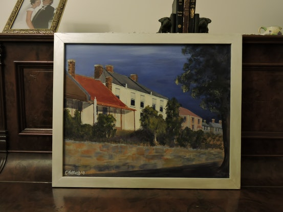 (CreativeWork) Launceston Terracehouses by Colin Hadfield. Acrylic Paint. Shop online at Bluethumb.