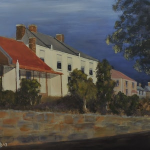 (CreativeWork) Launceston Terracehouses by Colin Hadfield. arcylic-painting. Shop online at Bluethumb.