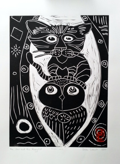 The Owl and the Pussy Cat  Lino Print Edition 20  of 50