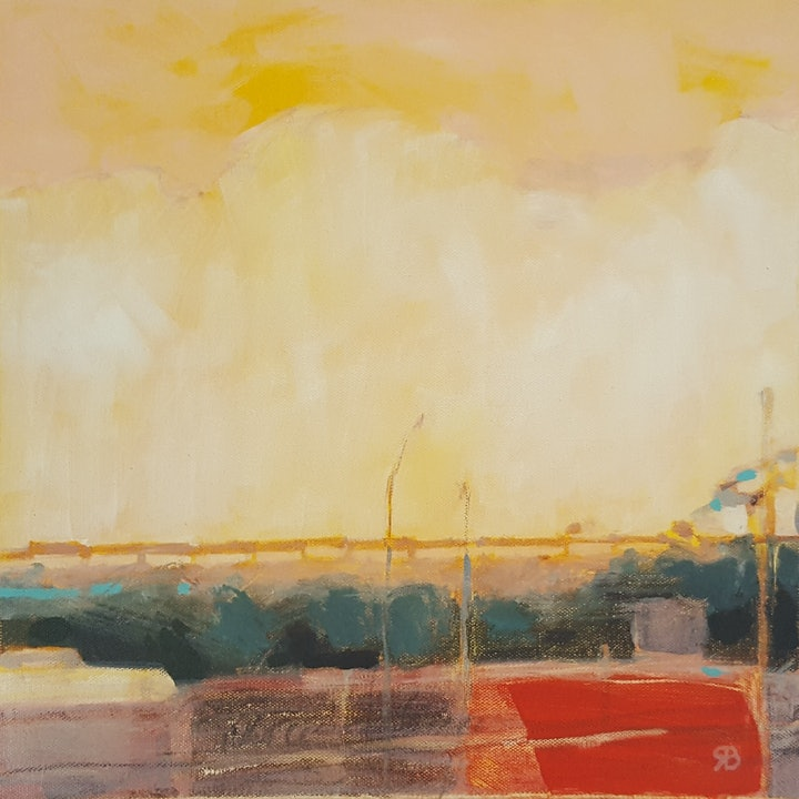 (CreativeWork) The Overpass by Richard Burkitt. arcylic-painting. Shop online at Bluethumb.