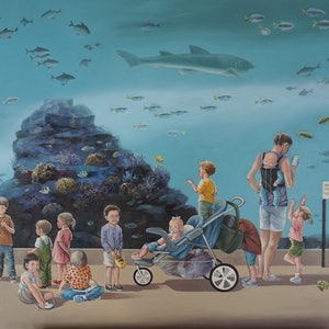 (CreativeWork) Airing at the Aquarium by Marion Schumacher. oil-painting. Shop online at Bluethumb.