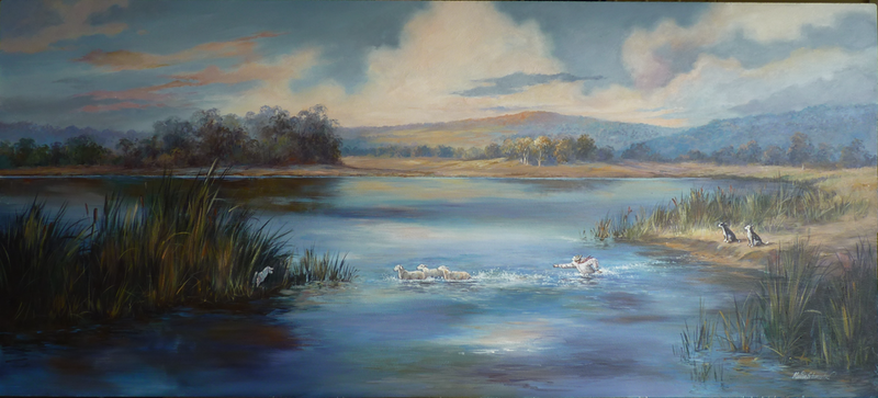 (CreativeWork) Sheep Dip by Marion Schumacher. arcylic-painting. Shop online at Bluethumb.