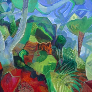 (CreativeWork) The Path to Deep Gully by _ Tillian _. arcylic-painting. Shop online at Bluethumb.