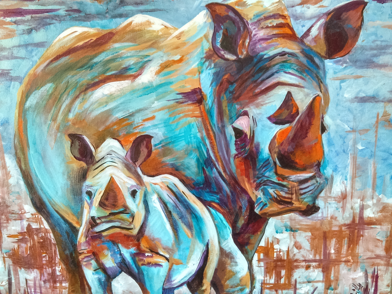 (CreativeWork) Rhino Sunset by Frilly Bumstead. arcylic-painting. Shop online at Bluethumb.