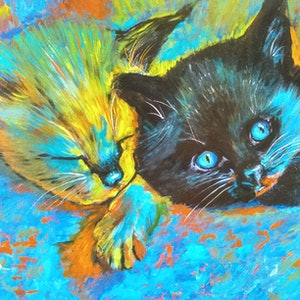 (CreativeWork) KITTEN DREAMTIME  by Frilly Bumstead. arcylic-painting. Shop online at Bluethumb.