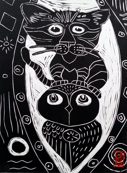 The Owl and the Pussy Cat Lino Print Edition 21  of 50 Ed. 21 of 50