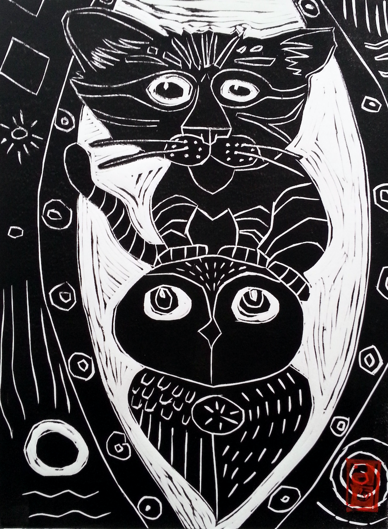 (CreativeWork) The Owl and the Pussy Cat Lino Print Edition 21  of 50 Ed. 21 of 50 by Dale Leach. print. Shop online at Bluethumb.