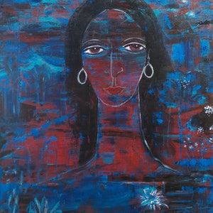 (CreativeWork)  A  rural woman    by Catherine Walker. acrylic-painting. Shop online at Bluethumb.