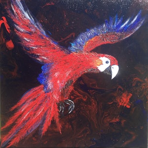 (CreativeWork) Eclectus Parrot in flight  by Mary-Anne Valla. mixed-media. Shop online at Bluethumb.