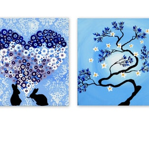 (CreativeWork) Zen Bonsai - 2 canvases by Mark Humphries. arcylic-painting. Shop online at Bluethumb.