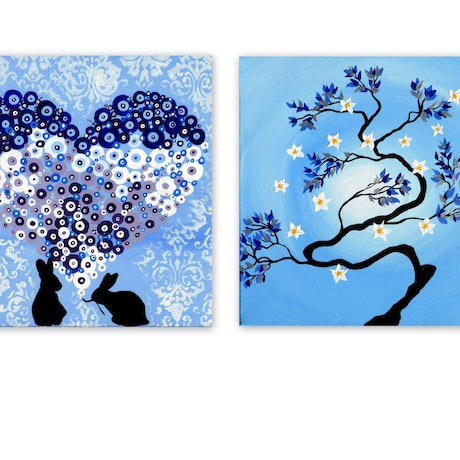 (CreativeWork) Zen Bonsai - 2 canvases by Mark Humphries. Acrylic Paint. Shop online at Bluethumb.