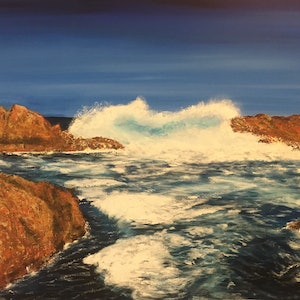(CreativeWork) Canal Rocks 122x76cm by Di Parsons. arcylic-painting. Shop online at Bluethumb.