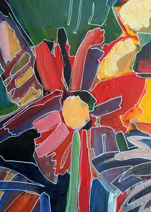 (CreativeWork) Three flowers by Anetta Dobrakowska. Acrylic Paint. Shop online at Bluethumb.